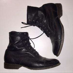 Frye Erin Work Boot Black Leather Combat
